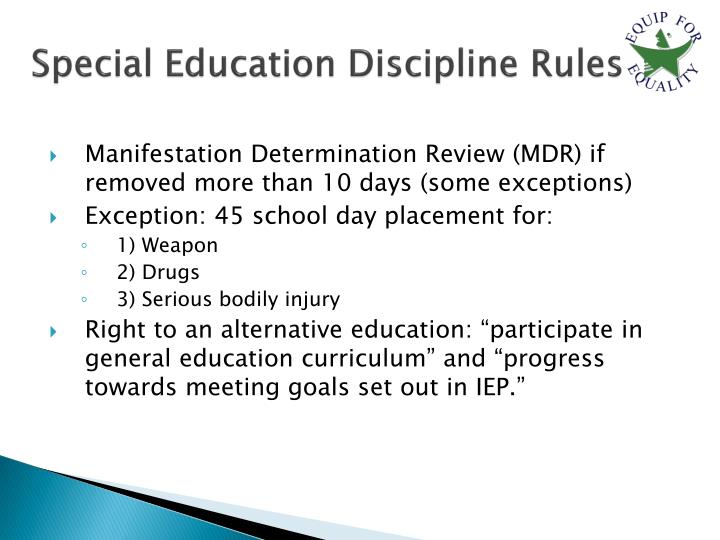 Special Education Discipline Rules
