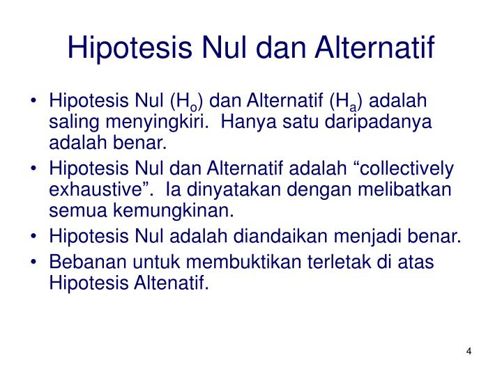 Hipotesis Nul dan Alternatif