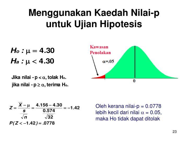 Menggunakan Kaedah Nilai-p untuk Ujian Hipotesis