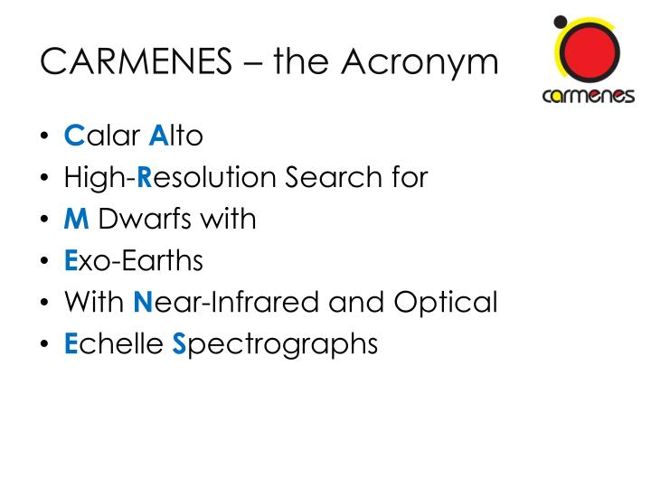 CARMENES – the Acronym