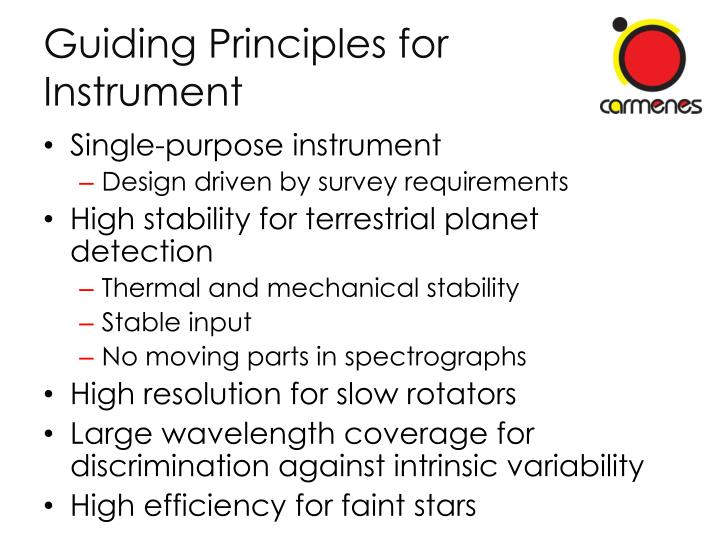 Guiding Principles for Instrument