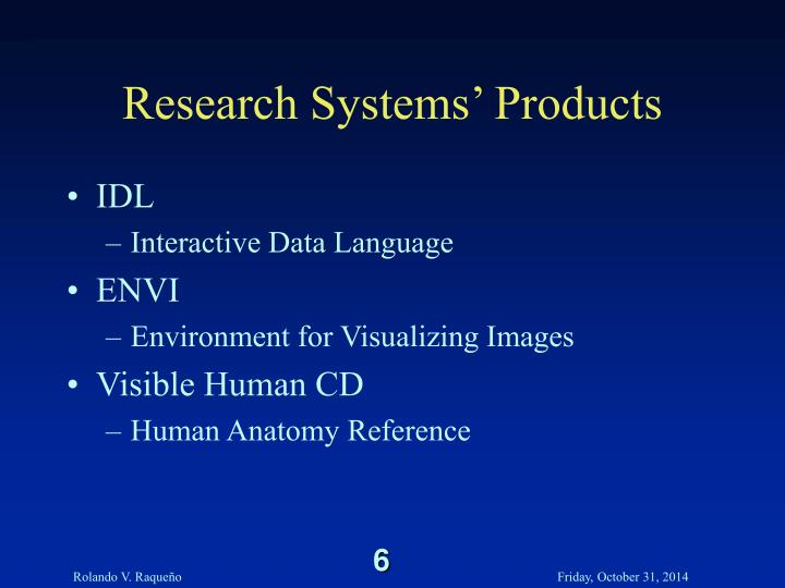 Research Systems' Products