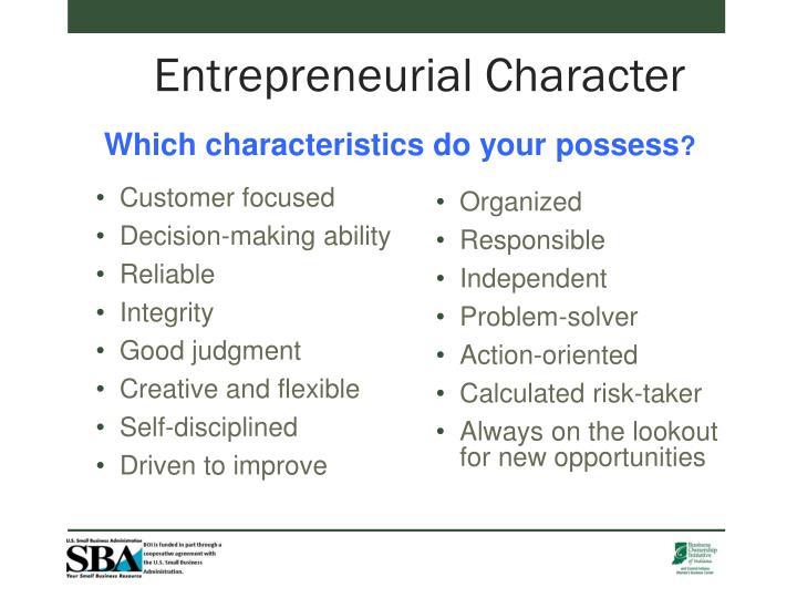 Entrepreneurial Character