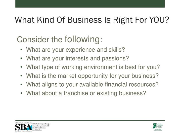 What Kind Of Business Is Right For YOU?