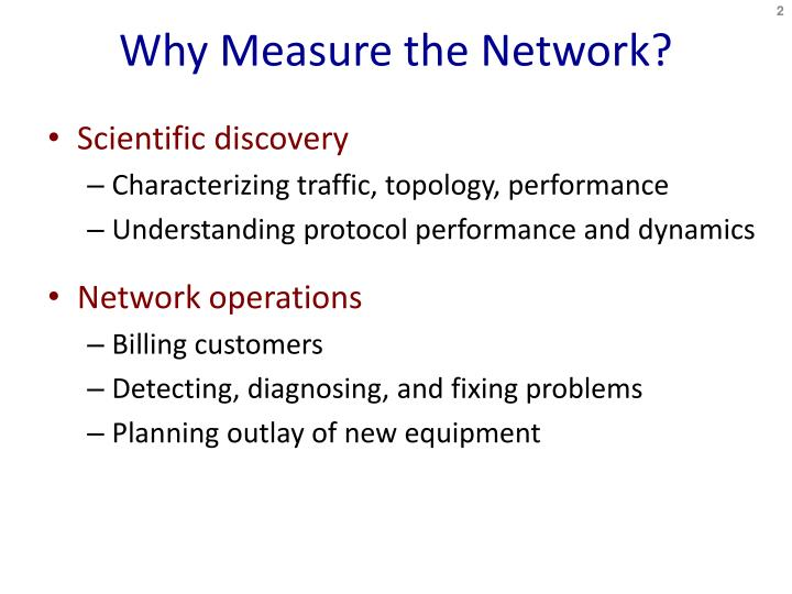 Why measure the network