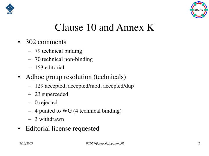 Clause 10 and annex k