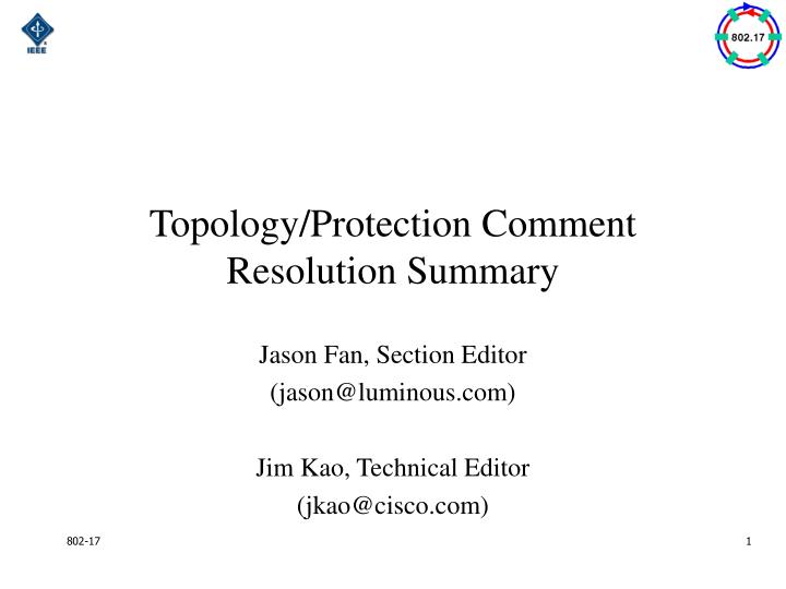 Topology/Protection Comment