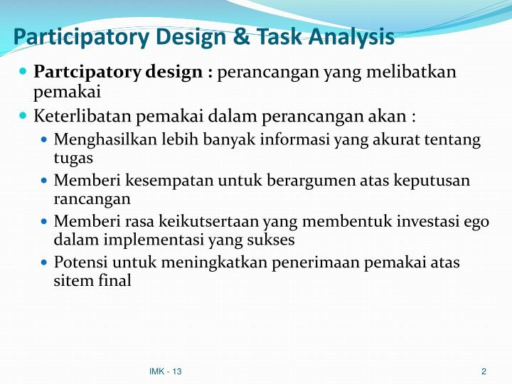 Participatory Design & Task Analysis