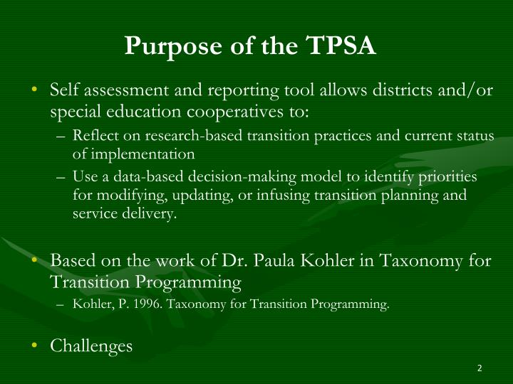 Purpose of the tpsa