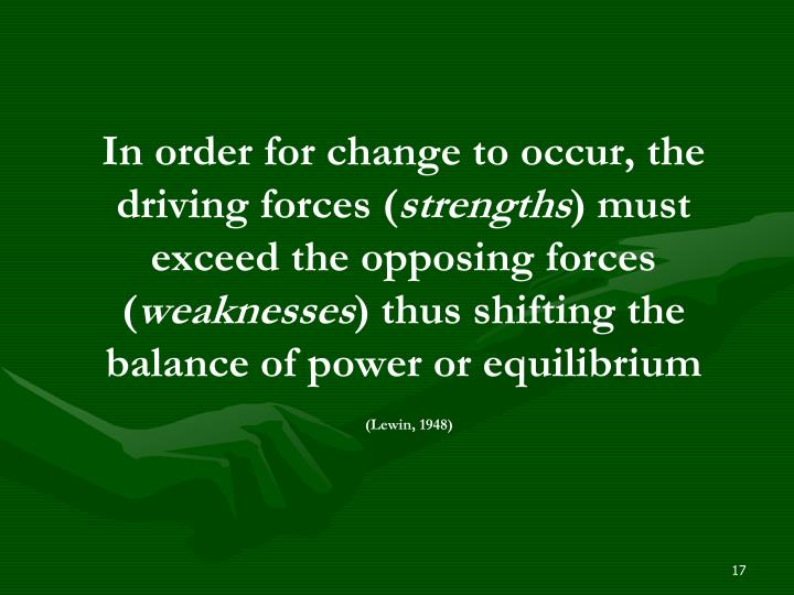 In order for change to occur, the driving forces (