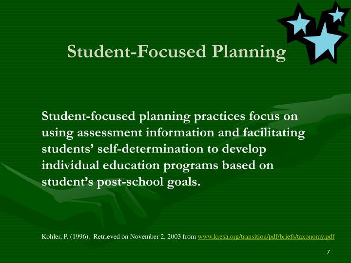 Student-Focused Planning