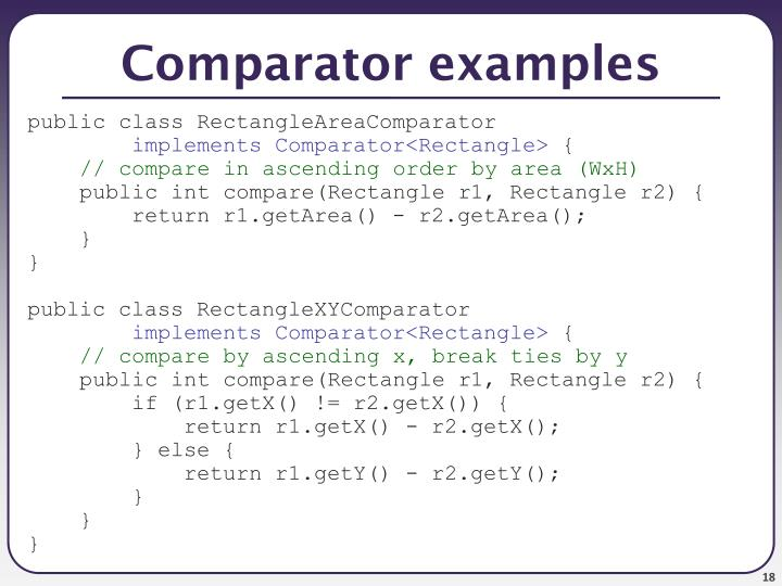 Comparator examples