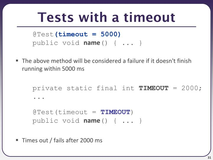 Tests with a timeout