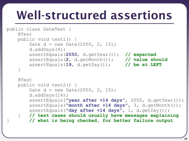 Well-structured assertions