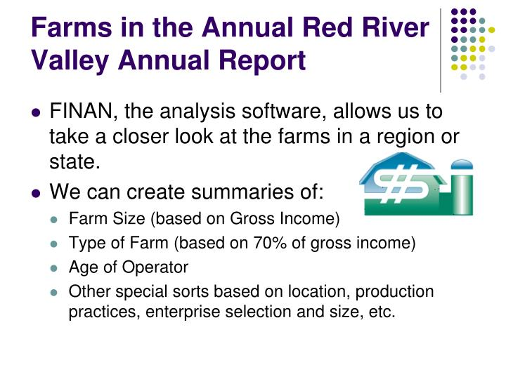 Farms in the Annual Red River Valley Annual Report