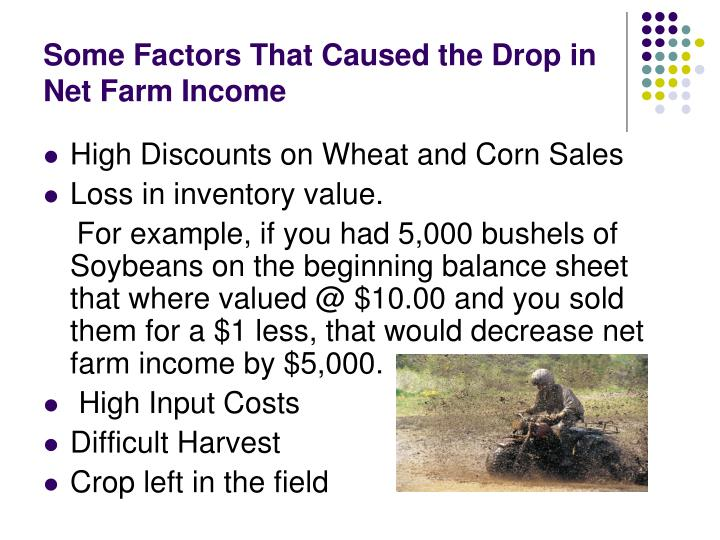 Some Factors That Caused the Drop in Net Farm Income