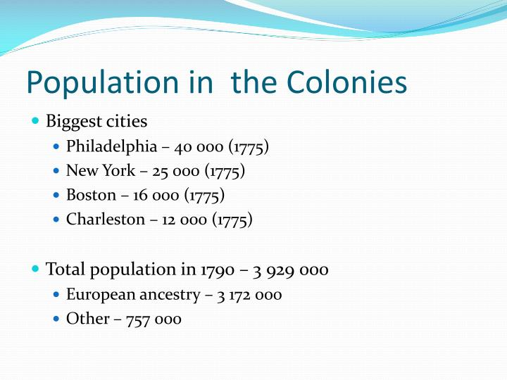Population in  the Colonies