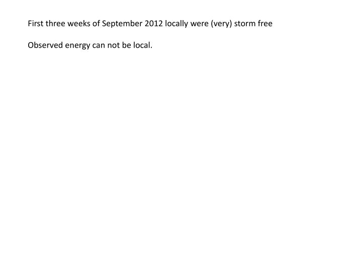 First three weeks of September 2012 locally were (very) storm free