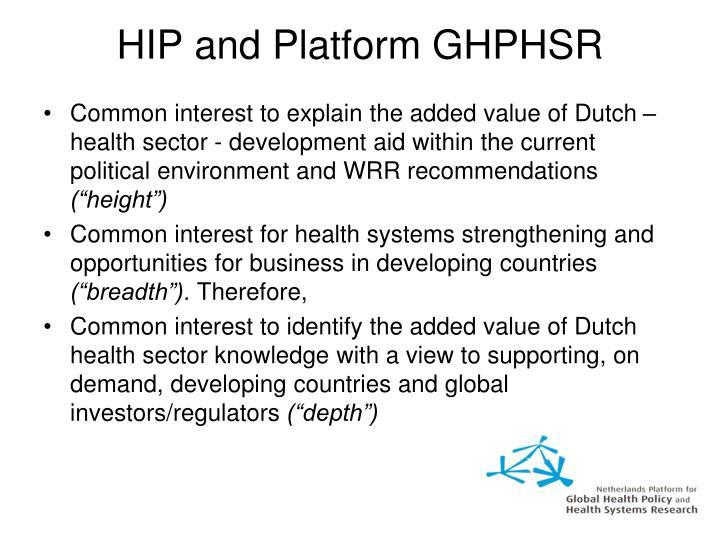 HIP and Platform GHPHSR