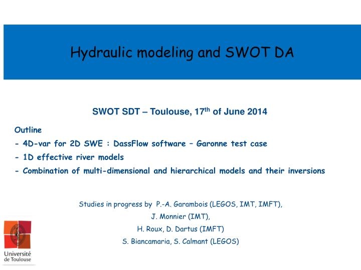 Hydraulic modeling and SWOT DA