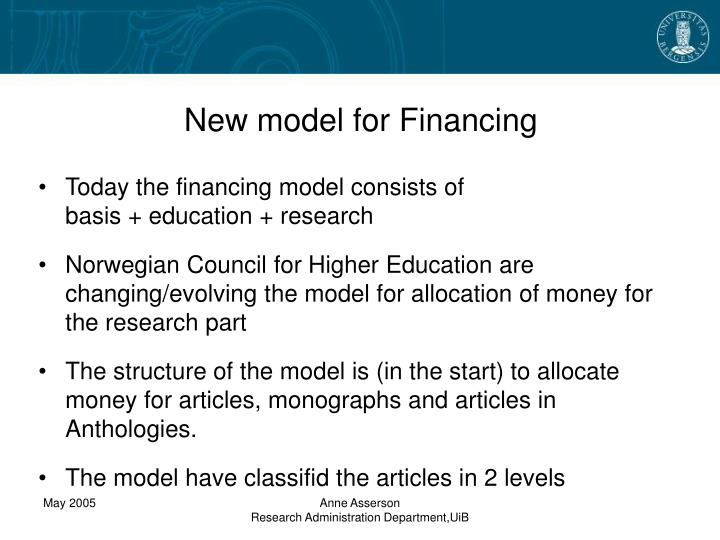 New model for Financing