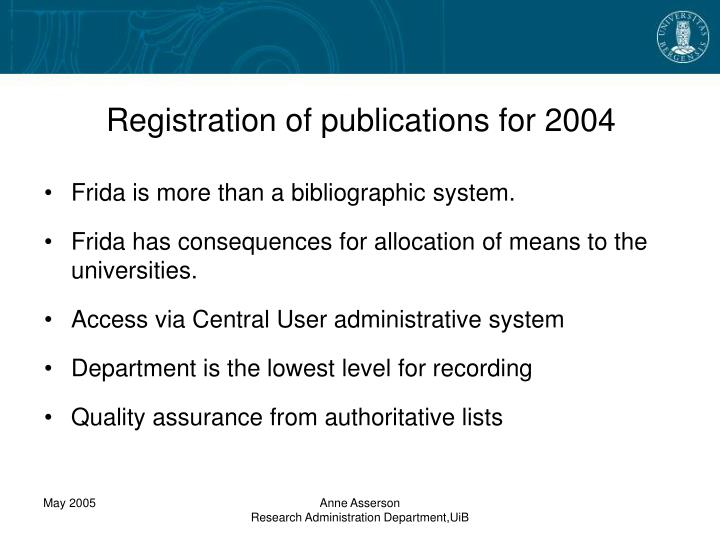 Registration of publications for 2004