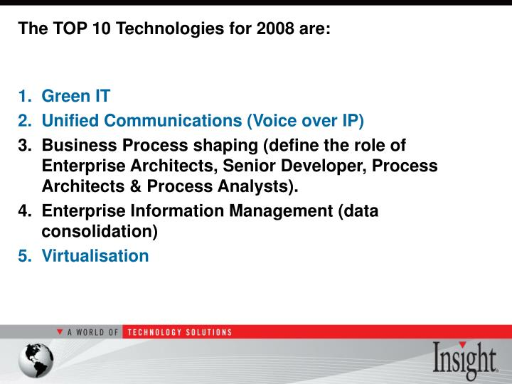 The TOP 10 Technologies for 2008 are: