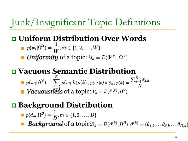 Junk/Insignificant Topic Definitions