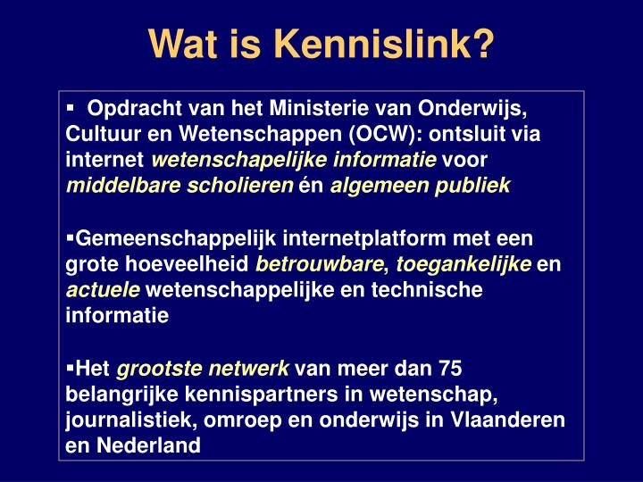 Wat is Kennislink?