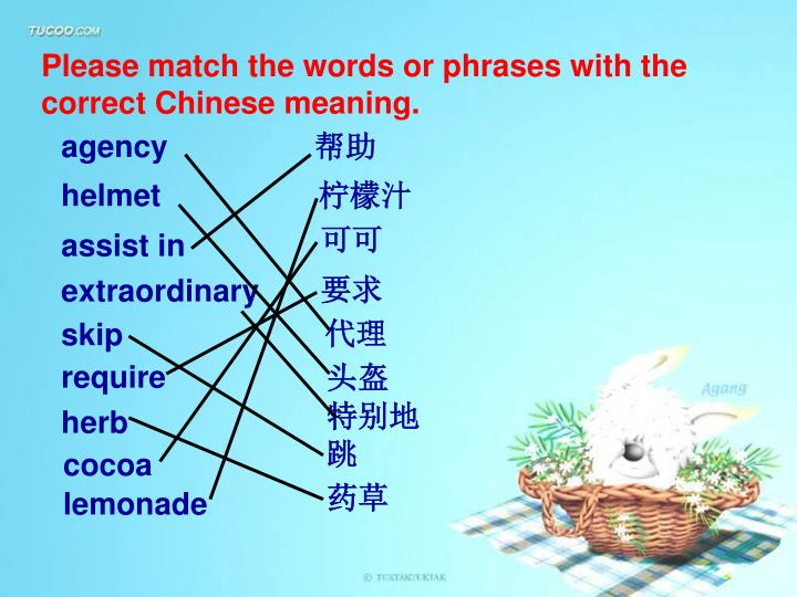 Please match the words or phrases with the correct Chinese meaning.