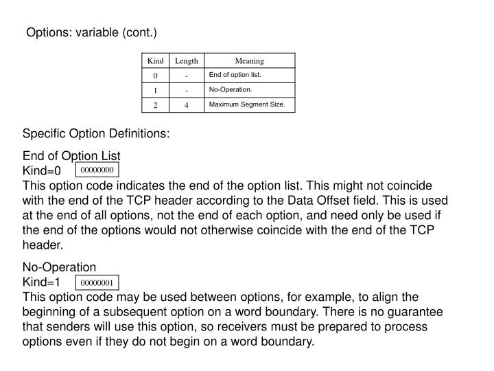 Options: variable (cont.)