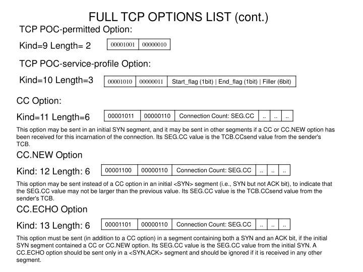 FULL TCP OPTIONS LIST (cont.)