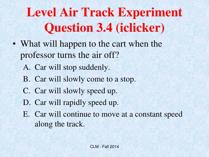 Level Air Track Experiment