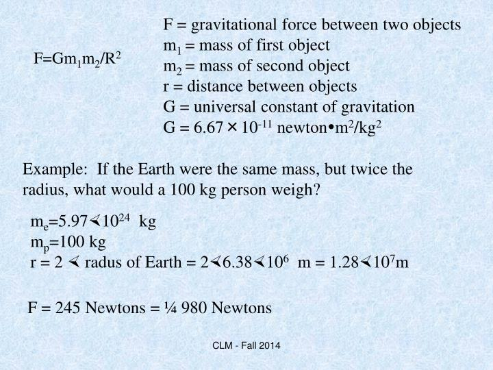 F = gravitational force between two objects