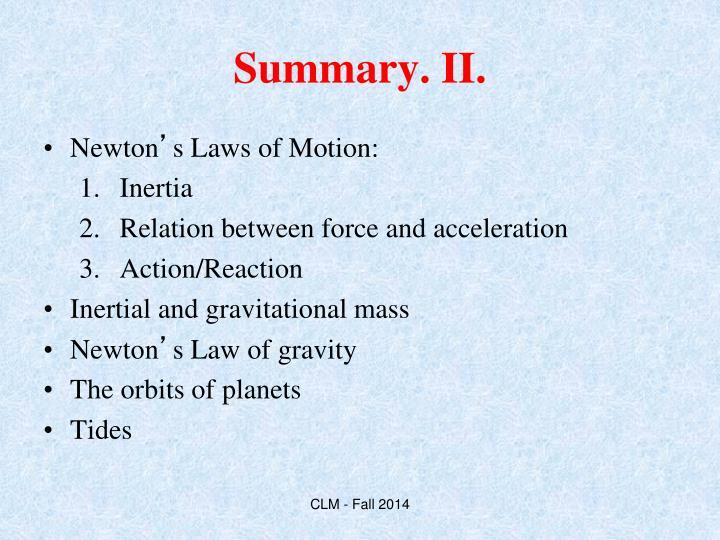 Summary. II.