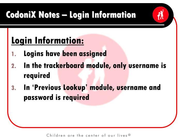 Login Information: