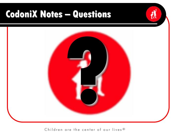 CodoniX Notes – Questions