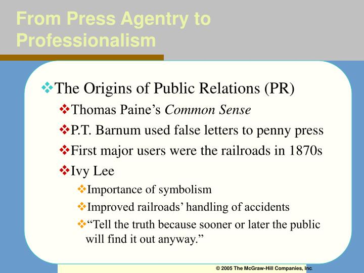 From Press Agentry to Professionalism