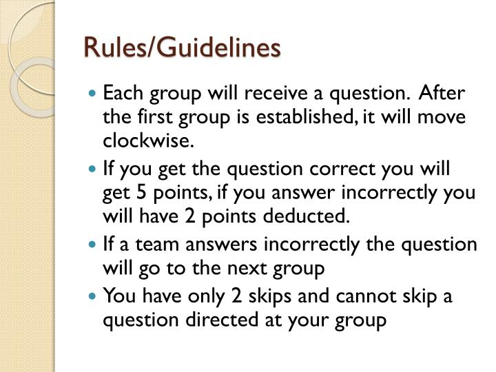 Rules/Guidelines