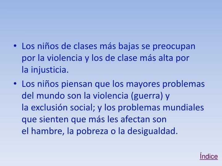 Los niños de clases más bajas se preocupan por la violencia y los de clase más alta por