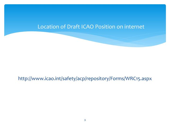 Location of draft icao position on internet