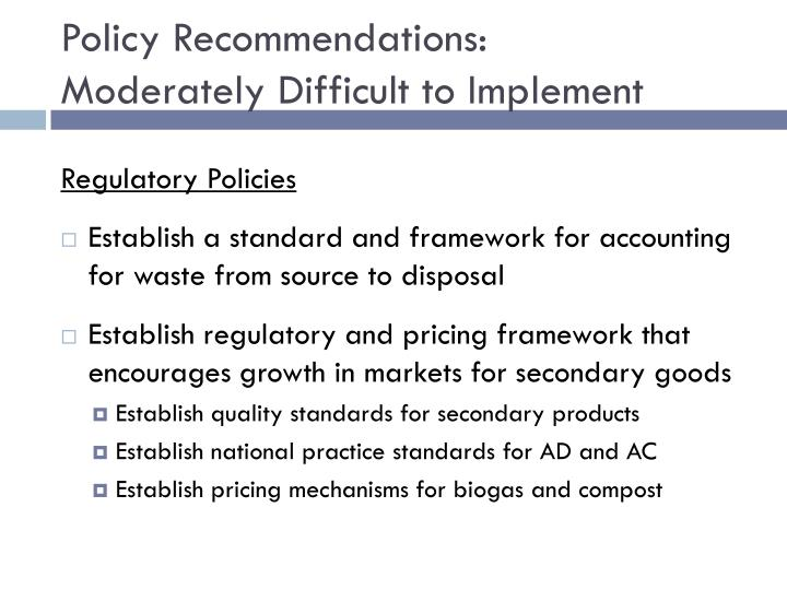 Policy Recommendations: