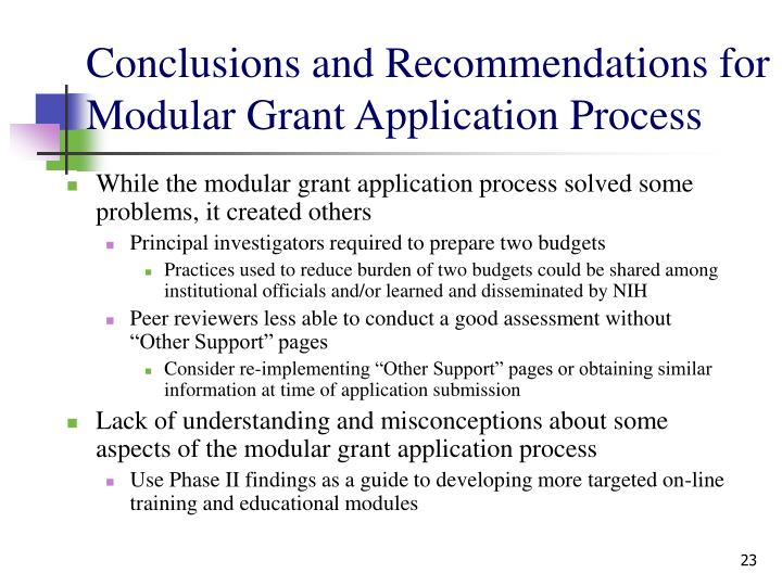Conclusions and Recommendations for Modular Grant Application Process