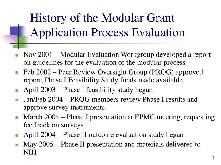 History of the Modular Grant Application Process Evaluation