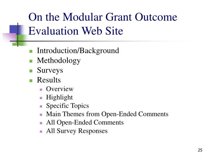 On the Modular Grant Outcome Evaluation Web Site