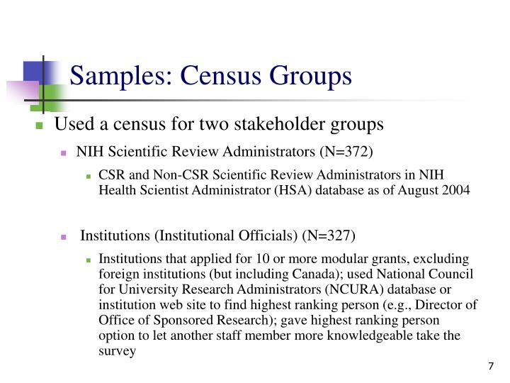 Samples: Census Groups