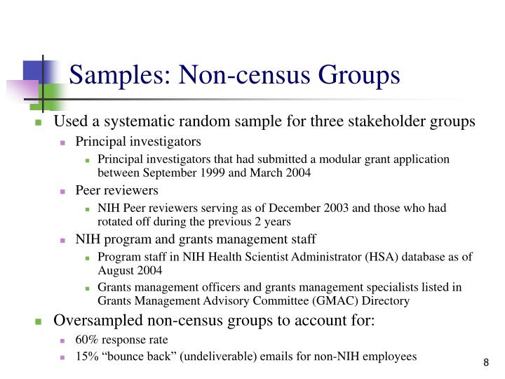 Samples: Non-census Groups