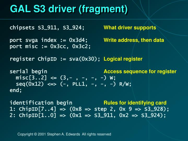 GAL S3 driver (fragment)