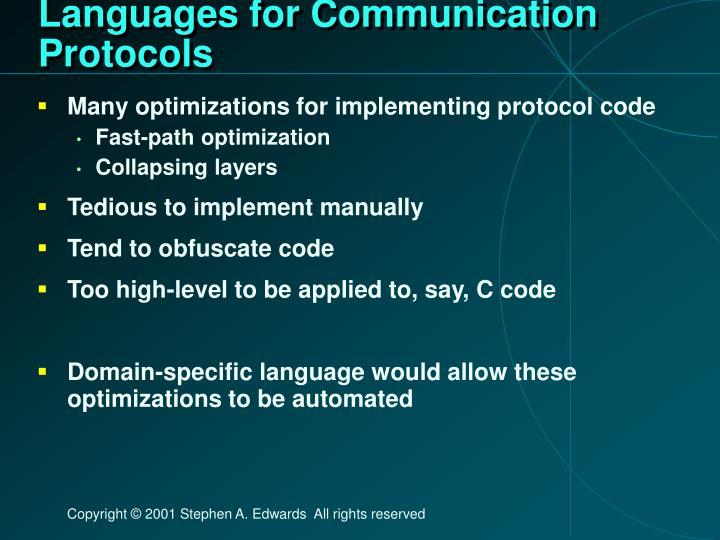 Languages for Communication Protocols