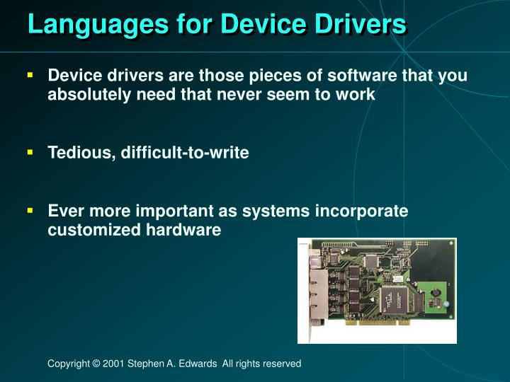 Languages for Device Drivers